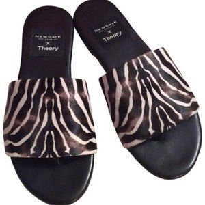 Zebra Theory size 10  pony hair slides NEW leather